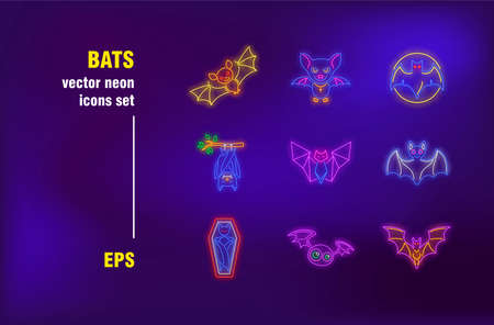 Bats collection in neon style. Animal, night, Halloween and flight. Vector illustrations for bright banners. Tradition and holiday concept Ilustrace