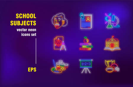 School subjects in neon style. Teacher, book, chemistry and study. Vector illustrations for luminous banners. Study, learning and education concept