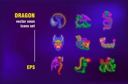 Dragon neon signs collection. Fire, creature and flight. Vector illustrations for bright billboards. Holiday and mythology concept