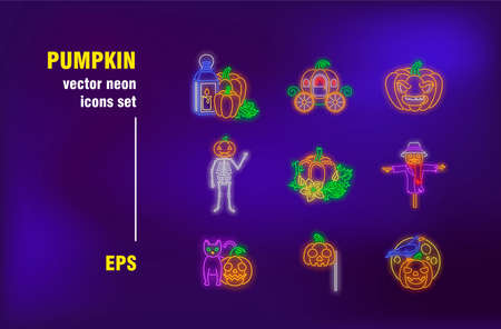 Pumpkin neon signs collection. Illuminated vegetable, Halloween and season. Vector illustrations for bright billboards. Tradition and holiday concept