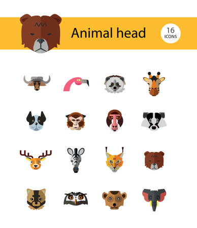 Animal head icon set. Cute wild cartoon animals, bear, monkey, lion, elephant, fox. Wildlife concept. Can be used for topics like mammals, zoo, safari, nature
