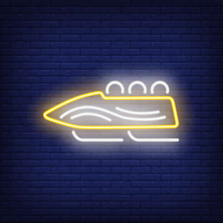 Yellow bobsleigh neon sign. Glowing bob with sport team on dark blue brick background. Can be used for sport, winter games
