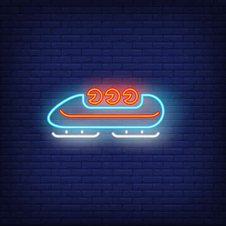 Bobsleigh neon sign. Glowing bob with sport team on dark blue brick background. Can be used for sport, winter games