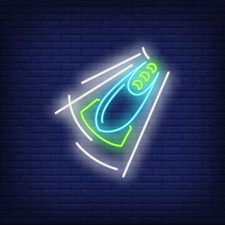 Bobsleigh team neon sign. Glowing bob with sport team on dark blue brick background. Can be used for sport, winter games