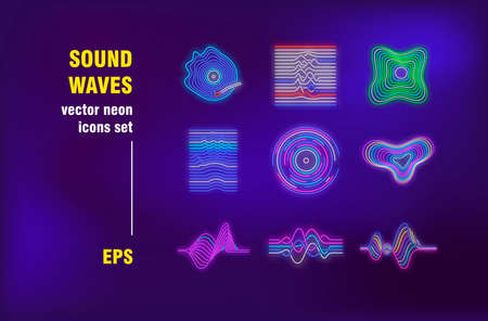 Sound waves neon signs set. Colorful sound frequency lines, volume tracks, circular waveforms. Night bright advertising. Vector illustration in neon style for banners, posters, flyers design