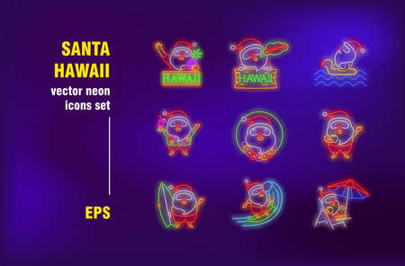 Santa on Hawaii neon signs set. Santa Claus enjoying summer vacation, drinking cocktail, surfing. Night bright advertising. Vector illustration in neon style for festive banners, travel flyers design
