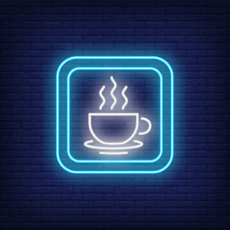 Cafe neon sign. Coffee cup in blue square on brick background. Night bright advertisement. illustration in neon style for service, catering, drinks