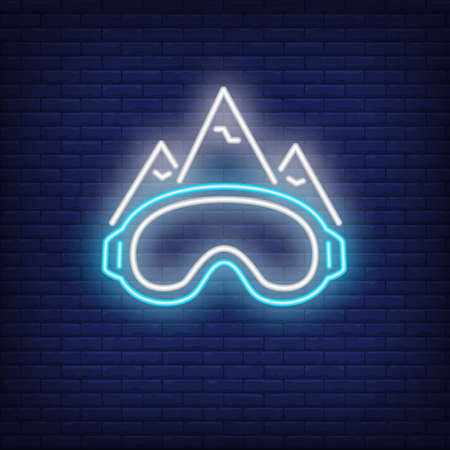 Ski slope neon sign. Mountains and sports goggles on brick background. Night bright advertisement. illustration in neon style for sport, hobby, recreation