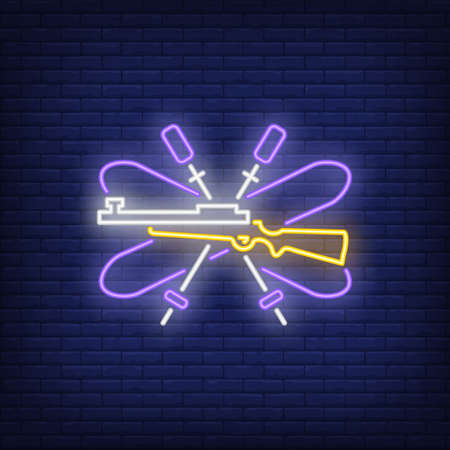 Purple biathlon equipment neon sign. Glowing ski, ski poles and gun on dark blue brick background. Can be used for sport, winter games