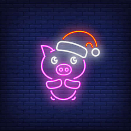 Piglet in santa cap neon sign. Glowing piggy in red hat on dark blue brick background. Can be used for christmas, new year, advertisement
