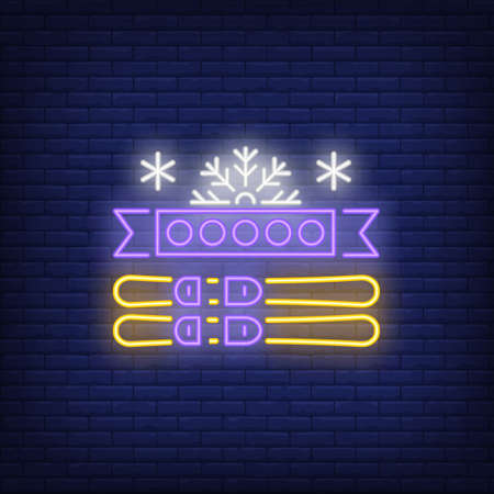 Ski neon sign. Glowing illustration of ski equipment and snowflake on dark blue brick background. Can be used for sport, Olympic games, winter games