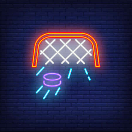 Ice hockey goal with moving puck neon sign. Hockey advertisement design. Night bright neon sign, colorful billboard, light banner. illustration in neon style. Reklamní fotografie