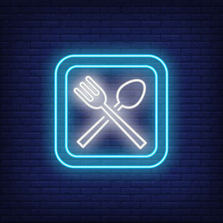 Catering neon sign. Fork and spoon in blue square on brick background. Night bright advertisement. illustration in neon style for food, service, restaurant