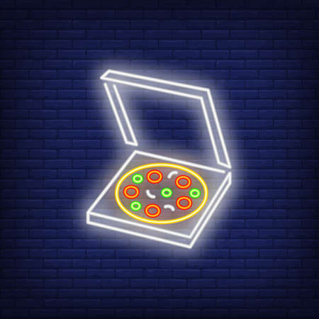 Pizza in open box neon sign. Pizzeria advertisement design. Night bright neon sign, colorful billboard, light banner. illustration in neon style.