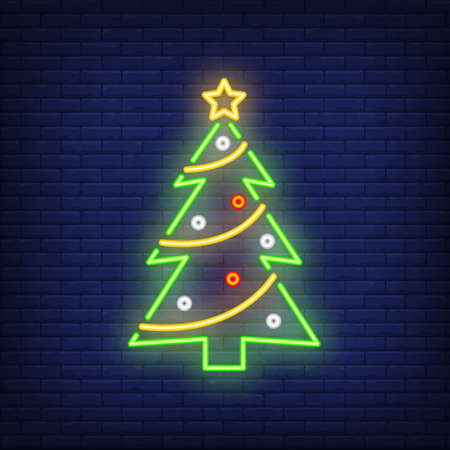 Decorated fir-tree neon sign. Christmas party advertisement design. Night bright neon sign, colorful billboard, light banner. illustration in neon style.