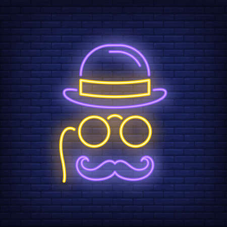 Gentleman hat, spectacles and moustache neon sign. Male shop or advertisement design. Night bright neon sign, colorful billboard, light banner. illustration in neon style.
