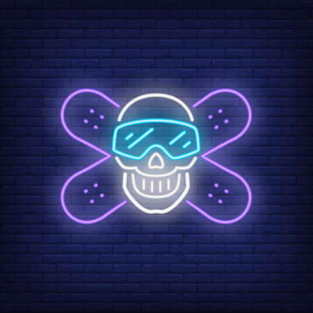 Snowboarding club neon sign. Crossed snowboarders and skull in goggles on brick background. Night bright advertisement. illustration in neon style for sport, hobby, lifestyle
