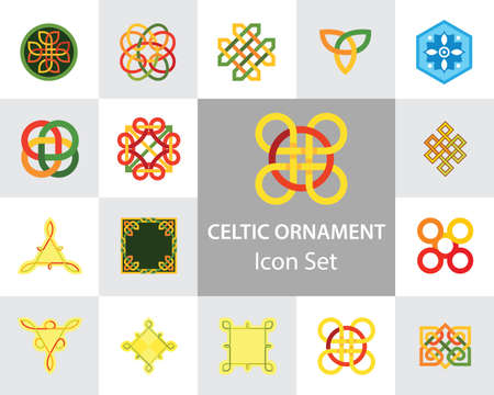 Celtic Ornament Icon Set. Infinite Endless Eternal Decorative Knot Buddhist Symbol Celtic Shield Symbol Element Sign Ornament Triqueta Quaternary
