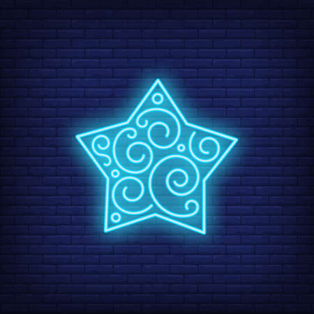Blue frozen star neon sign. Glowing star with pattern on dark blue brick background. Can be used for home decorations, Christmas time, New Year Reklamní fotografie