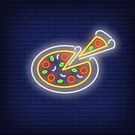 Pizza and slice neon sign. Pizzeria advertisement design. Night bright neon sign, colorful billboard, light banner. illustration in neon style. Reklamní fotografie