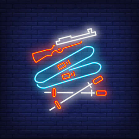 Biathlon equipment neon sign. Glowing ski, gun and ski poles on dark blue brick background. Can be used for sport,  winter games