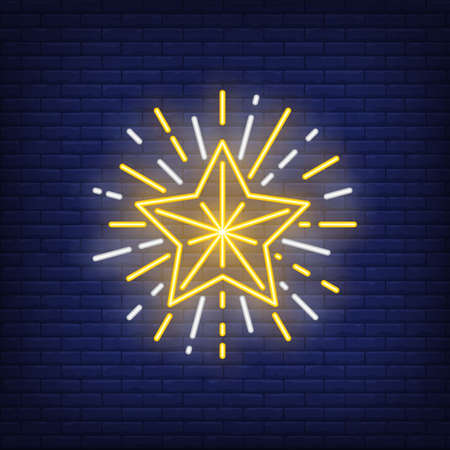 Sparkling star neon sign. Glowing star with sparkles on dark blue brick background. Can be used for festivals, celebration, christmas