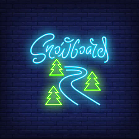 Snowboard curves neon sign. Ski slope between trees on brick background. Night bright advertisement. illustration in neon style for sport, hobby, recreation