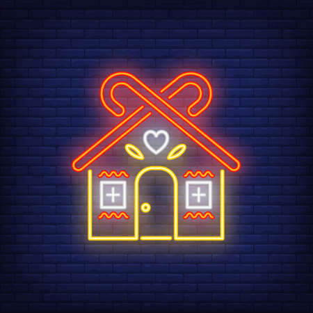 Gingerbread house neon sign. Invitation, dessert or advertisement design. Night bright neon sign, colorful billboard, light banner. illustration in neon style. Reklamní fotografie