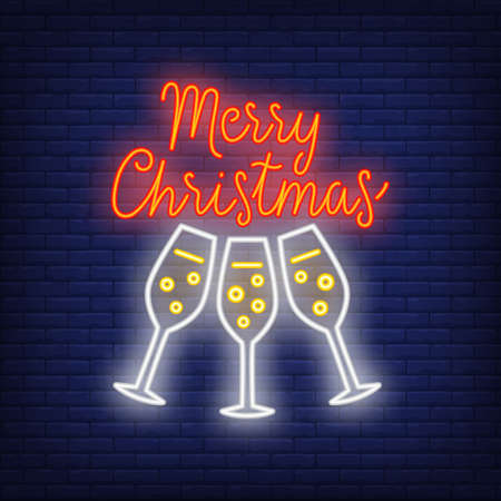 Merry Christmas neon text with champagne glasses. Christmas party or advertisement design. Night bright neon sign, colorful billboard, light banner. illustration in neon style.