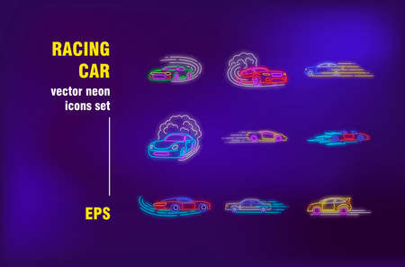 Racing car neon signs set. Fast sport cars in motions, moving, drifting, competition. Night bright advertising. Vector illustration in neon style for banner, poster, flyer design