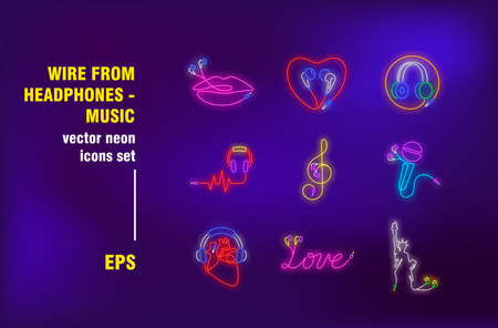 Wire earphones neon signs set. Sound gadget, headphones, listening to music devices, lips or heart shapes. Night bright advertising. Vector illustration in neon style for banner, poster, flyer design Ilustrace