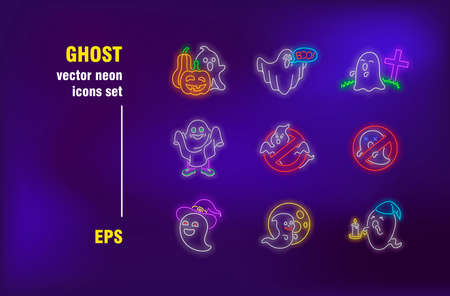 Ghost neon signs set. Halloween pumpkins, cemetery, spooky character, celebration. Night bright advertising. Vector illustration in neon style for festive banners, posters, party flyers design