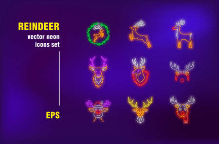 Reindeer neon signs set. Cute cartoon Christmas deer, wildlife mammal animal with horns. Night bright advertising. Vector illustration in neon style for banners, posters, flyers design Ilustrace