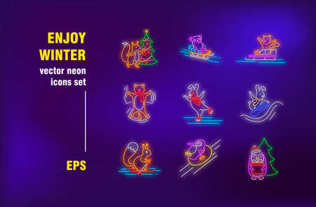 Enjoy winter neon signs set. Cute cartoon animals skating on ice, skiing, sledging. Night bright advertising. Vector illustration in neon style for outdoor activities banners, posters, flyers design Ilustrace