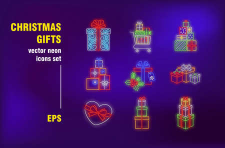 Christmas gifts neon signs set. Stacks of present boxes with ribbons and bows, shopping cart. Night bright advertising. Vector illustration in neon style for sale banners, promo posters, flyers design