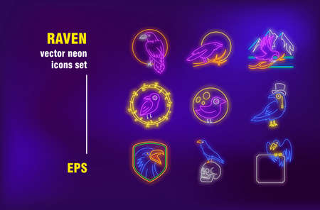 Raven neon signs set. Hawk on branch, crow skull, little bird in circle. Night bright advertising. Vector illustration in neon style for Halloween banners, gothic posters, party flyers design Ilustrace