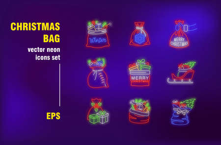 Christmas bags neon signs set. Santa Claus sack with gifts and Xmas tree on sleigh. Night bright advertising. Vector illustration in neon style for festive banners, posters, invitation cards design