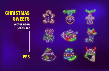 Christmas sweets neon signs set. Candy cane, gingerbread man, egg-nog, pie. Night bright advertising. Vector illustration in neon style for festive banners, invitation cards, menu design