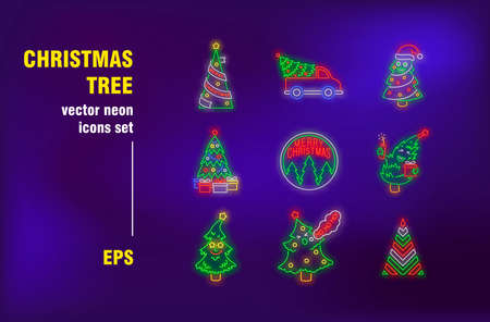 Christmas trees neon signs set. Decorated fir tree with ornament, delivery truck, service. Night bright advertising. Vector illustration in neon style for festive banners, posters, flyers design Ilustrace