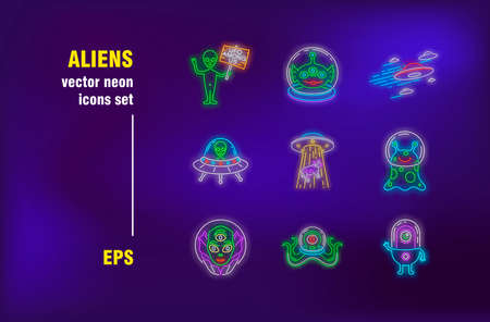 Aliens neon signs set. Green cute characters, humanoid, invaders, ufo. Night bright advertising. Vector illustration in neon style for banners, posters, flyers design
