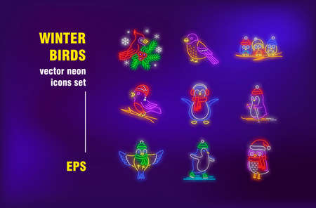 Winter birds neon signs set. Cute cartoon penguin, owl in Christmas hat, bullfinch. Night bright advertising. Vector illustration in neon style for banners, coffee shop signboards design Ilustrace