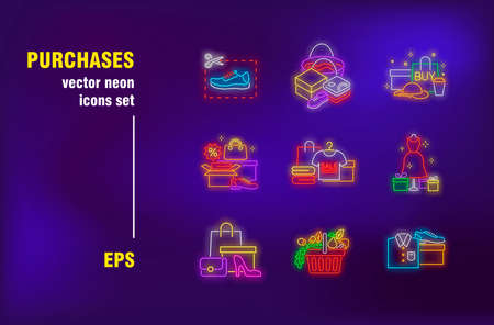 Purchases neon signs set. Clothes and footwear, organic food, shopping bags, new arrival. Night bright advertising. Vector illustration in neon style for retail banners, sale posters, discount coupons