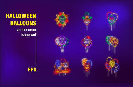 Halloween balloons neon signs set. Autumn leaves, festive decoration, celebration, spooky faces. Night bright advertising. Vector illustration in neon style for banners, posters, party flyers design