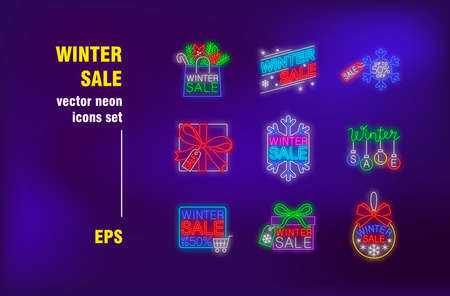 Winter sale neon signs set. Shopping bags, bauble, gift box, snowflake. Night bright advertising. Vector illustration in neon style for retail banners, Christmas posters, discount flyers design Ilustrace