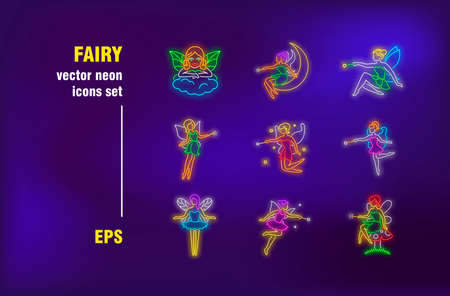 Fairy neon signs set. Flying cartoon female character with wings, magic stick, wizard, mystery. Night bright advertising. Vector illustration in neon style for banners, posters, flyers design
