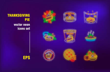 Thanksgiving pie neon signs set. Autumn leaves, pumpkin cake, harvest, celebration. Night bright advertising. Vector illustration in neon style for banner, party or dinner invitation, cafe menu design
