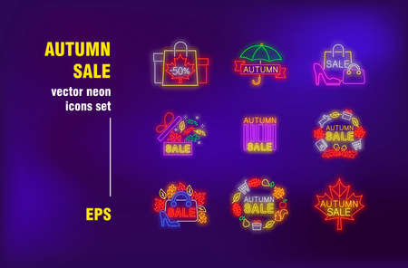 Autumn sale neon signs set. Shopping bags with fall leaves, umbrella, gift boxes. Night bright advertising. Vector illustration in neon style for retail banners, promo posters, discount flyers design