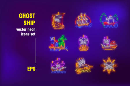 Ghost ships neon signs set. Pirate sailboats, dead vessels, skulls on sails. Night bright advertising. Vector illustration in neon style for banners, posters, flyers design