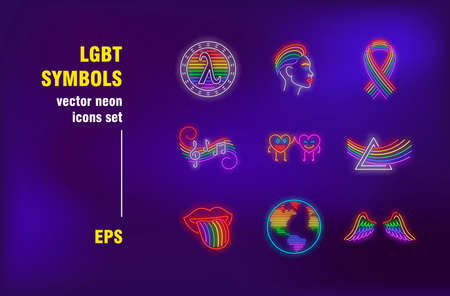 LGBT symbols neon signs set. Rainbow hair, wings, planet, tongue. Night bright advertising. Vector illustration in neon style for parade banners, posters, pride flyers design