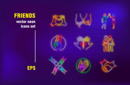 Friends neon signs set. Friendship symbols and hand gestures, hug, handshake, high five, two people. Night bright advertising. Vector illustration in neon style for banners, posters, flyers design